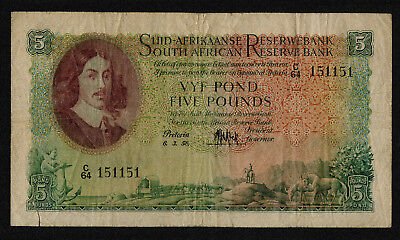 SOUTH AFRICA (P097c) 5 Pounds 1958 aF/F