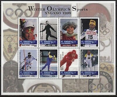 ST VINCENT (9702) 1997 Nagano  Olympic Games  Henie  Stenmark  Koss  Jagge  MNH