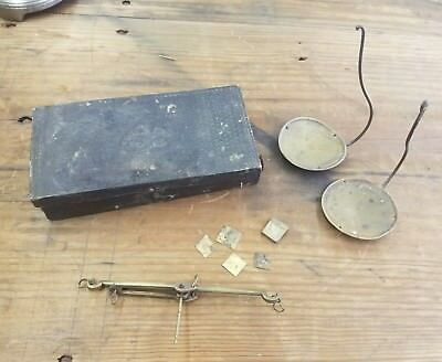 Antique Civil War Era Hand Held Gold Scale with Case, Gold Rush, Brass