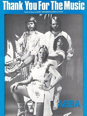 ABBA sheet music THANK YOU FOR THE MUSIC (1977) London issue