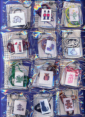 Counted Cross Stitch Keyring Kit. Quick Project / Gift. Various Designs