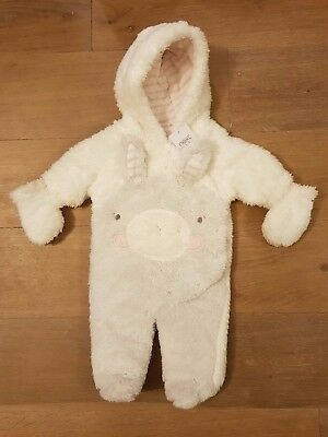 BNWT! NEXT Fluffy Rabbit Snowsuit / Pramsuit! Up to 3 Months (Winter All in One)