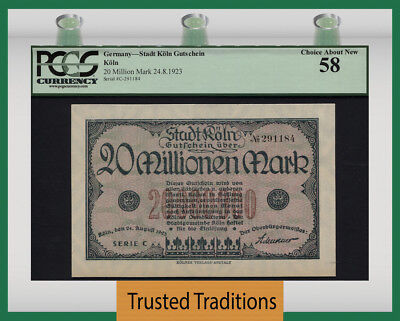 Tt 1923 Germany 20 Million Mark Pcgs 58 - Over-Sized - Almost 100 Years Old!!