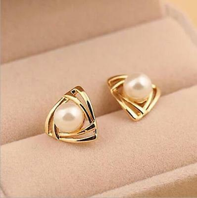 Hot selling Fashion design gold color white pearl Earring Jewelry women's gift