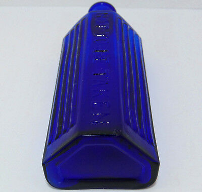 "4oz Cobalt Blue Ribbed Type Lewis & Towers Style ""Triangle"" Poison Bottle c1920s"