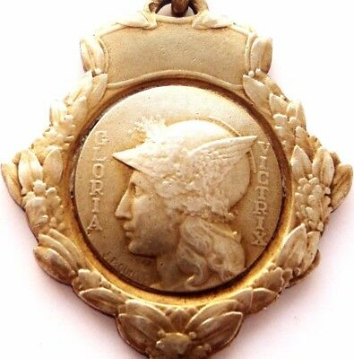 Winged Helmet Lady - Glory Of The Victor Antique Silver Art Medal Signed Quille