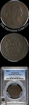 1803 Large Cent PCGS F12 Small Date Sm Fraction S.256 R.3 Nice Strike
