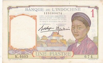 1946 French Indo-China 1 Piastre Note, Pick 54c