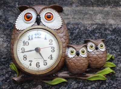 Vintage New Haven Burwood 1970's Owl Owlets Wall Clock Battery Powered, WORKS!!