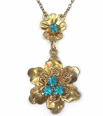 Vintage Lavalier Necklace Filigree Flower Rhinestone Barclay 12K Gold Filled