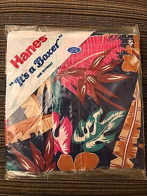 """Vintage 80s It's a Boxer""""  shorts Retro  Hanes Lg 36-38 New Old Stock Tropical"""