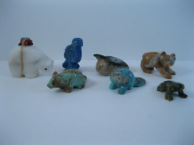 Lot 10 - Collection of 6 Zuni Carved Stone Bird & Animal Fetishes some Signed