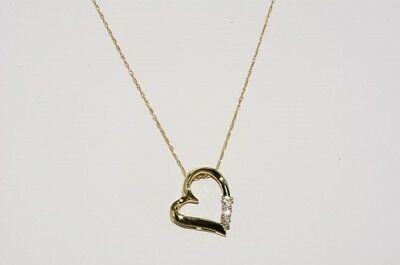 .13Ct Natural Round Cut Diamond 3 Stone Heart Necklace 10K Yellow Gold