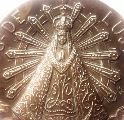 Our Lady Of Lujan & Ray Of Light - Large & Rare High Relief Antique Medal Plaque