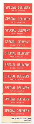 c1940s Special Delivery - Employ Epileptics label strip of 10