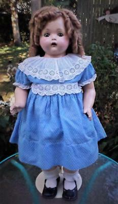 """Huge 27"""" Antique Composition Doll Toddler Effanbee 1920's Cloth Body Excellent !"""