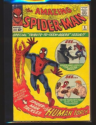 Amazing Spider-Man # 8 - Human Torch appearance VG Cond.