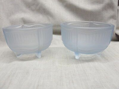 2 art deco frosted glass dressing table pots blue glass 1930's trinkets creams
