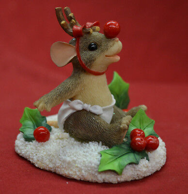 """Charming Tails """"The Littlest Reindeer"""" Christmas Mouse Figurine * BRAND NEW"""