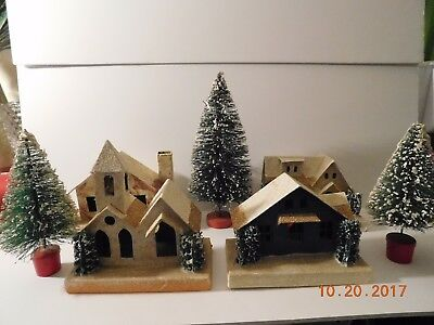 Four Vintage Putz Village Houses And Three Bottle Brush Tree Made In Japan