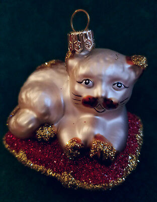 Cat on a Pillow Glass Ornament - New in Box