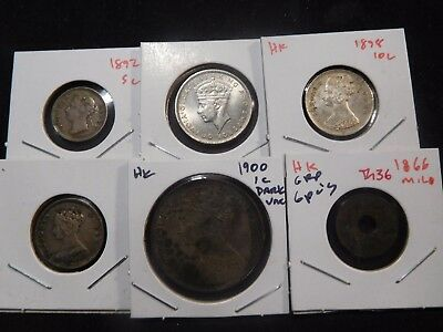 INV #Th36 Hong Kong 1892 5 Cents, 1898 10 Cents, 1866 Mil, 1900 Cent Group 6 Ppc