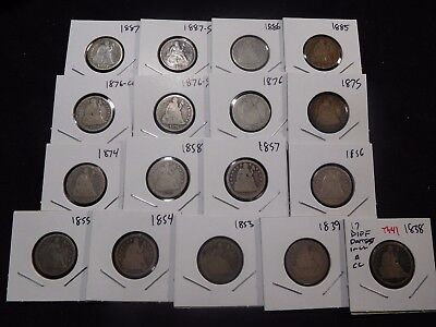 INV #Th41 USA Seated Liberty Dime 17 Pcs Mixed Dates Incl. a CC 1838 1839 1854