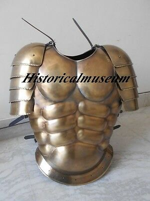 MUSCLE ARMOUR JACKET W/SHOULDER BRASS ANTIQUE HB3 FINISH Knight Fighters Replica