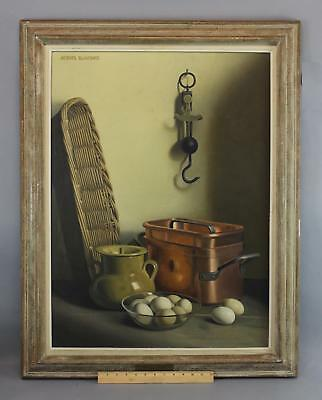JACQUES BLANCHARD Trompe L'Oeil Still Life Oil Painting Eggs Copper Pot & Basket