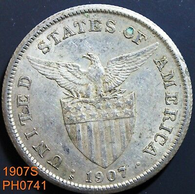 PHILIPPINES Peso 1907-S circulated silver coin with some luster remaining