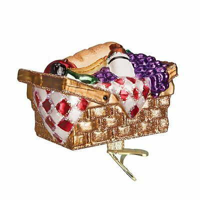 Picnic Basket Old World Christmas Ornament NWT mouth blown glass