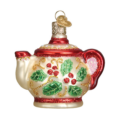 Holly Teapot Old World Christmas Ornament NWT mouth blown glass