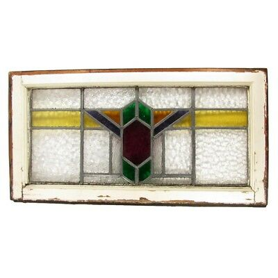 """Antique LEADED GLASS Transom Window Arts & Crafts Deco Stained 27.5"""" x 14.5"""