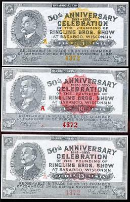 HGR 1933 5c,10c,15c ((Ringling Bros - ALL Serial#4372)) Appears GEM UNCIRCULATED