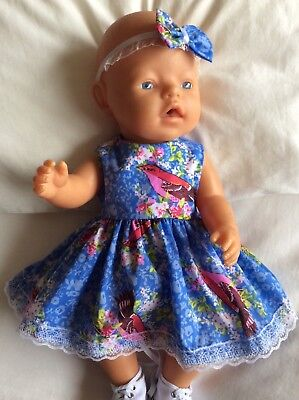 "Doll Clothes to fit 17"" Baby Born doll ~ Dress & hband  ~ Pink / White Flowers"