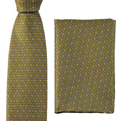 """New BRIONI dis n I1311 Olive Abstract 3.25"""" Silk Handkerchief & Neck Tie Set NWT"""