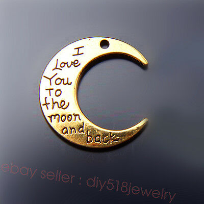 2 piece 30*28mm Moon Style I Love You To The Moon And The Back Charms Gold 7479B