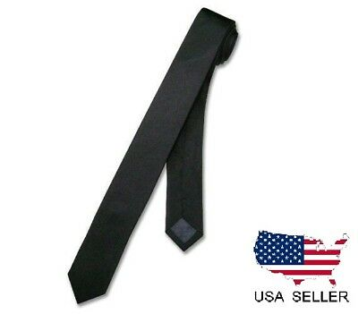 "NEW Men Boy Black Skinny Slim Retro Tie Narrow 2"" Wide Thin Necktie Solid Color"