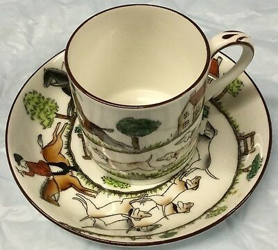 Fox Hunt Hunting Crown Staffordshire Demitasse Cup and Saucer