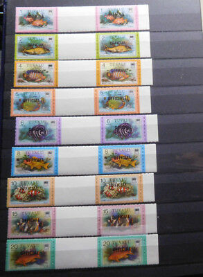 Tuvalu ~ Stamp Sets, OFFICIAL, Scott# O1-O19, Fish, Pairs (Gutter Between) , MNH