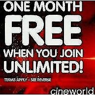 Cineworld Unlimited Card - 1 month free