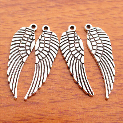 10 Piece 30*9mm Angel Wing Charms Bails Tibetan Silver DIY Jewelry Finding 7099B