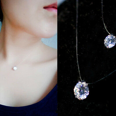 Charm Women Crystal Necklace Invisible Line Zircon Clavicle Chain Accessories H7