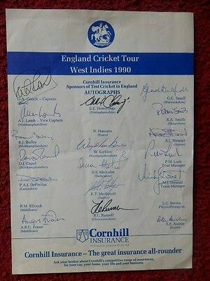 England Cricket Tour -  West Indies 1990 - Autographs