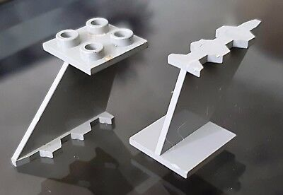 Vintage Lego Space Planes Moon Grey Tail Wing Support Piece Block Brick 2 Pieces