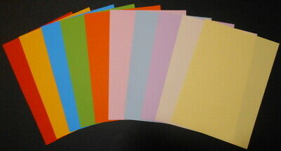 A5 COLOURED PAPER x 40  - 10  COLOURS -  PERFECT FOR CARD INSERTS