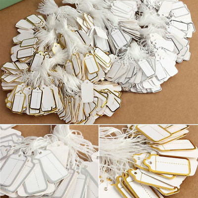 100 x Golden White Strung Price Ticket Tags Labels Retail Clothing Gift Sticker