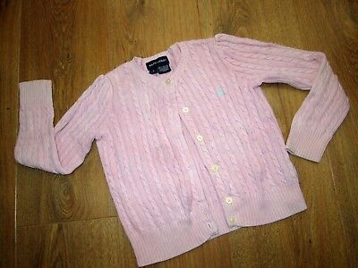 Beautiful Girls Ralph Lauren Pink Cable Knit Cardigan Age 4 Years 100% Cotton