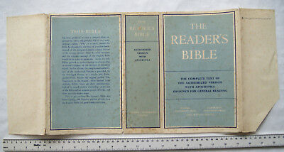Original dust jacket for The Reader's Bible, Auhtorised Versioon with Apocrypha