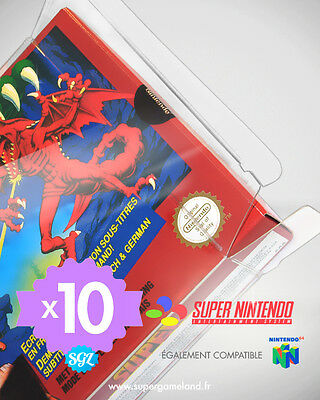 10 BOITIERS PROTECTION PROTECTIVE CASE SUPER NINTENDO SNES N64 0,4 mm NEUFS